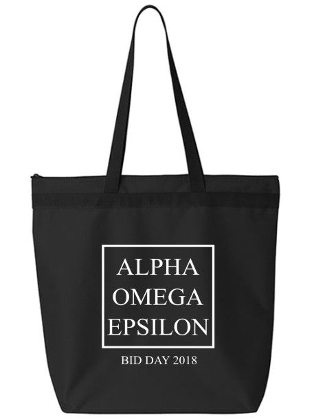 Alpha Omega Epsilon Box Stacked Event Tote Bag