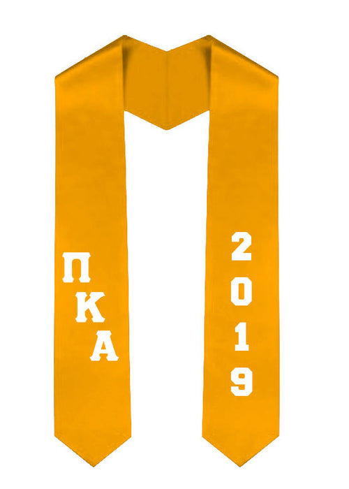 Pi Kappa Alpha Slanted Grad Stole with Letters & Year