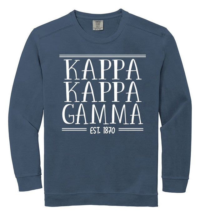 Kappa Kappa Gamma Comfort Colors Custom Sorority Sweatshirt