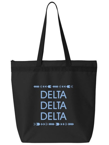 Delta Delta Delta Arrow Top Bottom Tote Bag