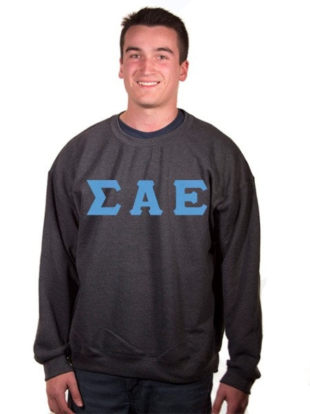 Sigma Alpha Epsilon Crewneck Sweatshirt with Sewn-On Letters
