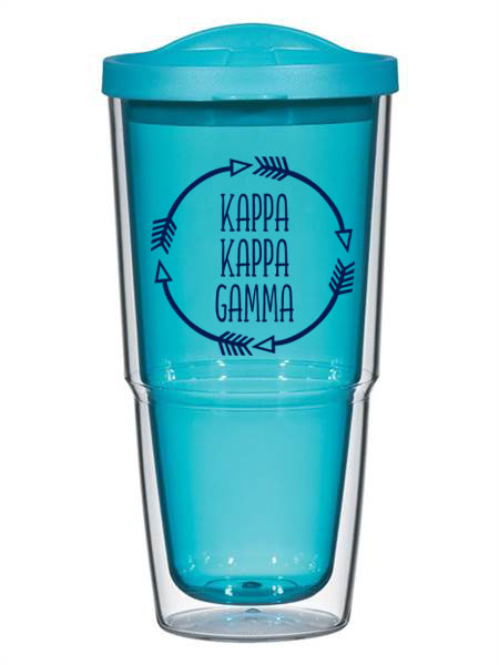 Kappa Kappa Gamma Circle Arrows 24 oz Tumbler with Lid