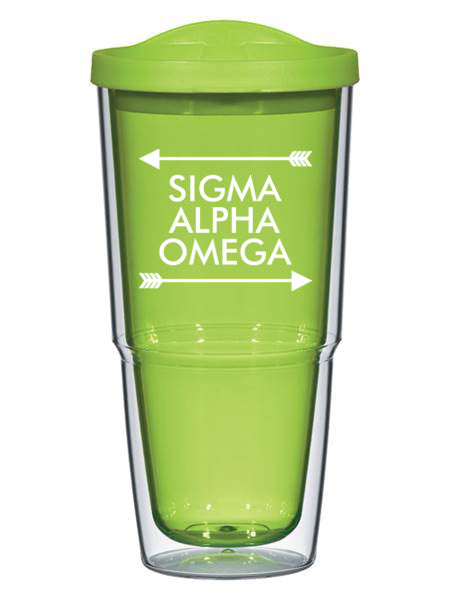 Sigma Alpha Omega Arrow Top Bottom 24oz Tumbler with Lid