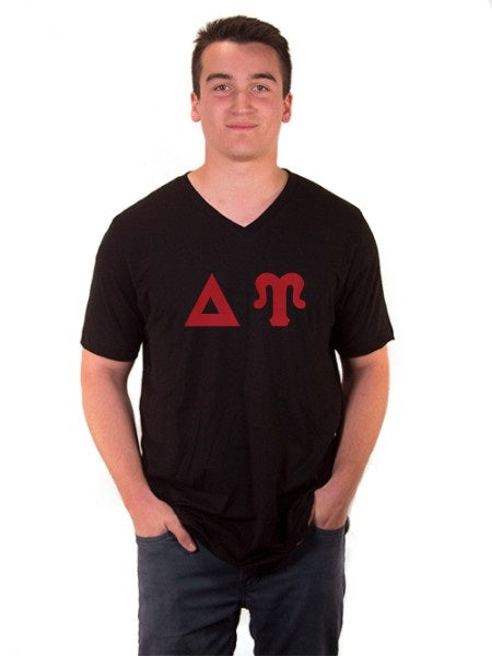 Delta Upsilon V-Neck T-Shirt with Sewn-On Letters