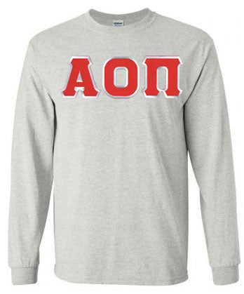Alpha Omicron Pi Long Sleeve Greek Lettered Tee