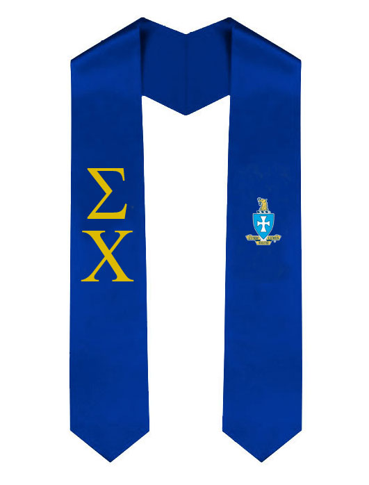 Sigma Chi Lettered Graduation Sash Stole with Crest