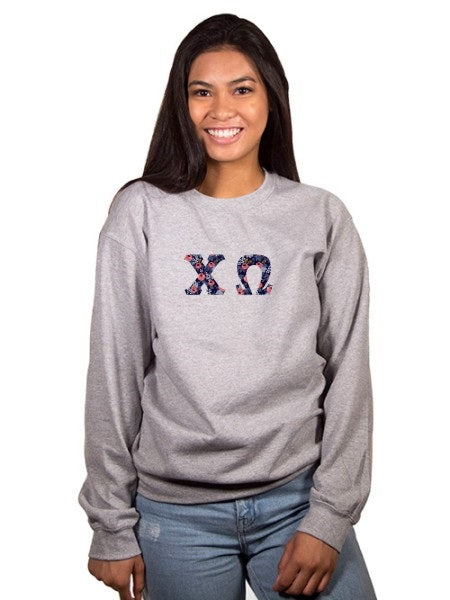 Chi Omega Crewneck Sweatshirt with Sewn-On Letters