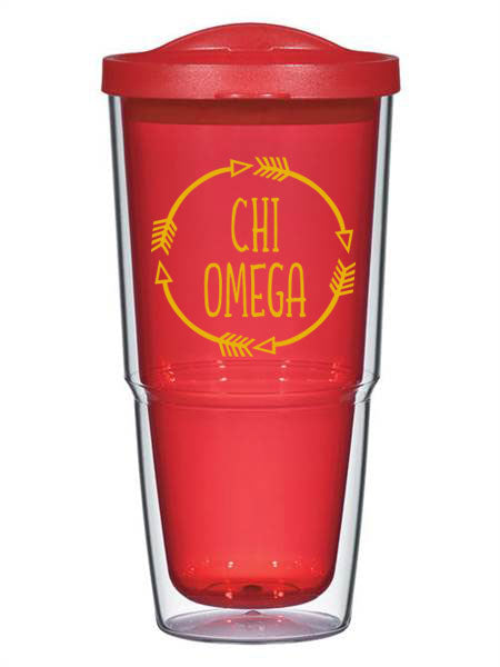 Chi Omega Circle Arrows 24 oz Tumbler with Lid