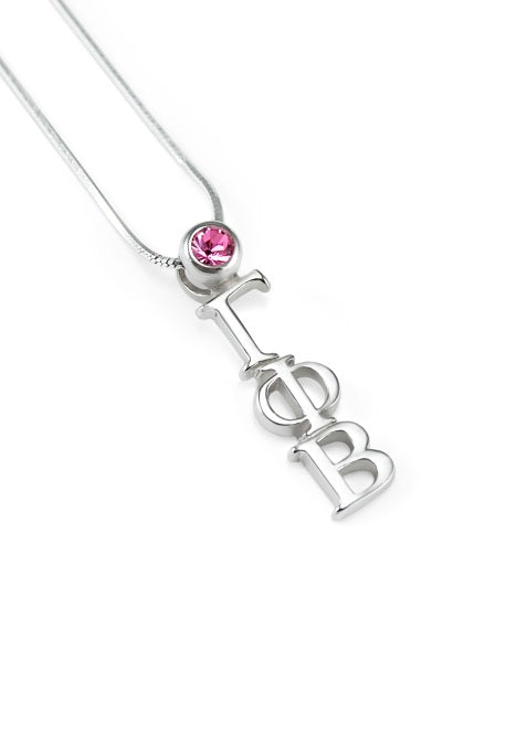 Gamma Phi Beta Sterling Silver Lavaliere Pendant with Swarovski Crystal