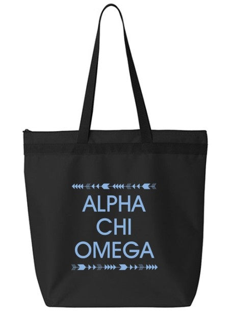 Alpha Chi Omega Arrow Top Bottom Tote Bag