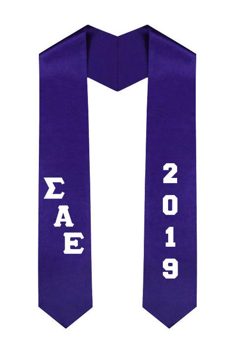 Sigma Alpha Epsilon Slanted Grad Stole with Letters & Year