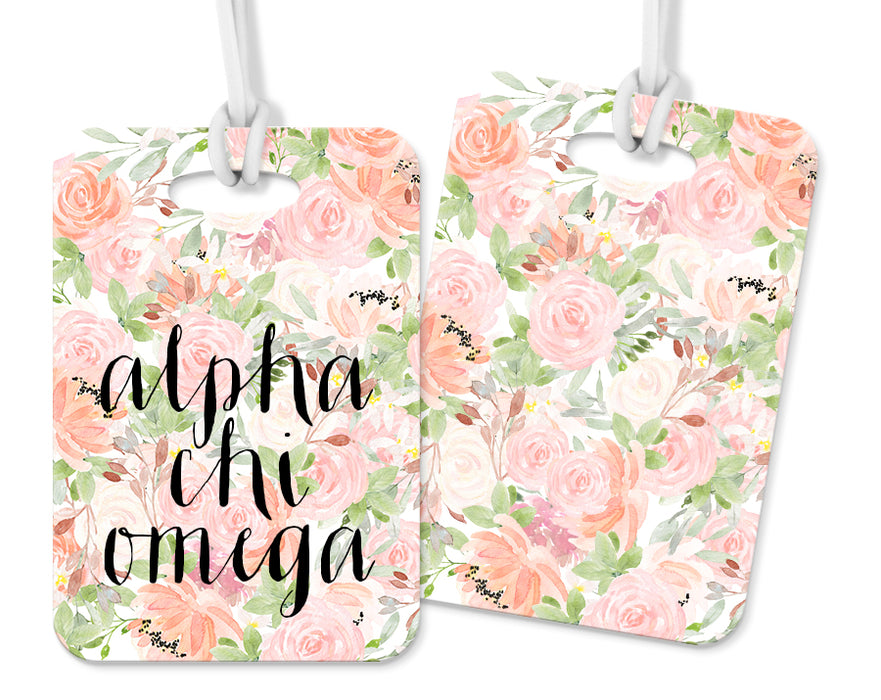 Alpha Chi Omega Pink Floral Luggage Tag