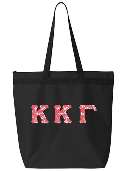 Kappa Kappa Gamma Large Zippered Tote Bag with Sewn-On Letters