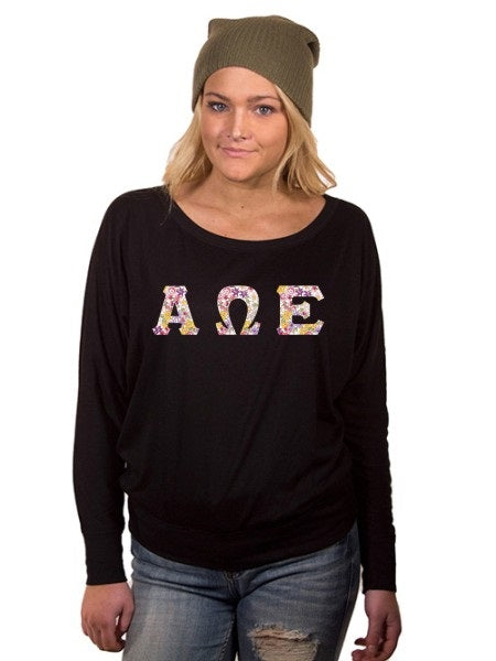 Alpha Omega Epsilon Off the Shoulder Flowy Long Sleeve Shirt with Letters