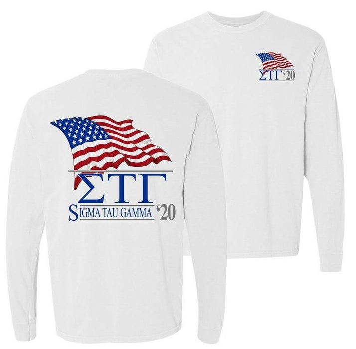 Sigma Tau Gamma Patriot Flag Comfort Colors Long Tee