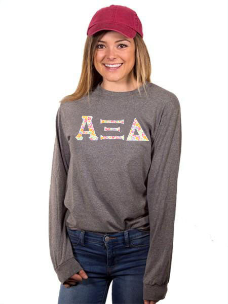 Alpha Xi Delta Long Sleeve T-shirt with Sewn-On Letters