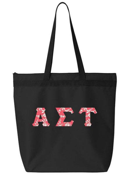Alpha Sigma Tau Large Zippered Tote Bag with Sewn-On Letters