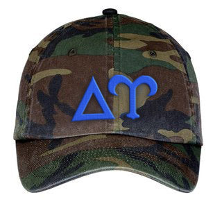 Delta Upsilon Letters Embroidered Camouflage Hat