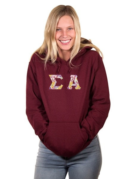 Sigma Alpha Unisex Hooded Sweatshirt with Sewn-On Letters