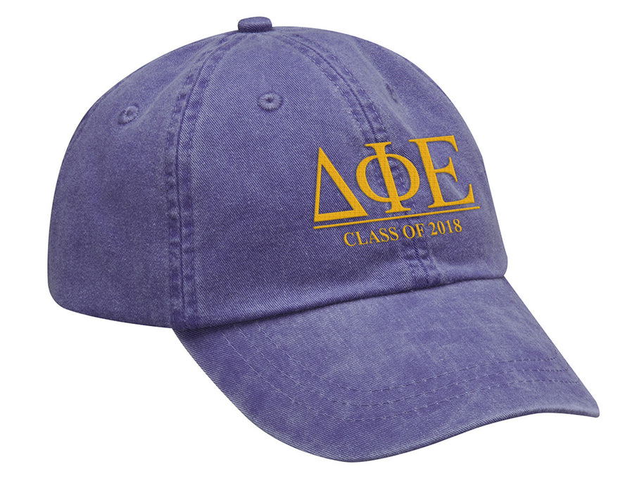 Delta Phi Epsilon Embroidered Hat with Custom Text