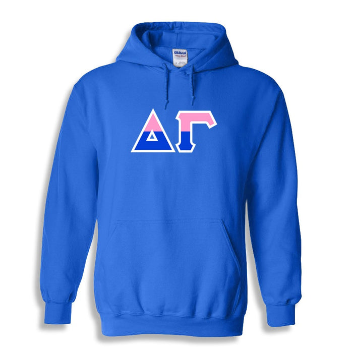 Delta Gamma Two Toned Lettered Hooded Sweatshirt