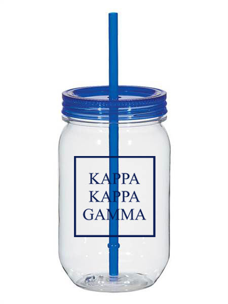 Kappa Kapap Gamma Box Stacked 25oz Mason Jar