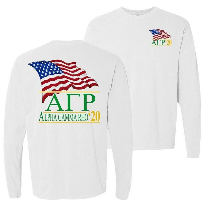 Alpha Gamma Rho Patriot Flag Comfort Colors Long Tee