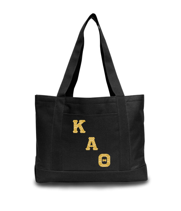 Kappa Alpha Theta 2-Tone Boat Tote with Sewn-On Letters