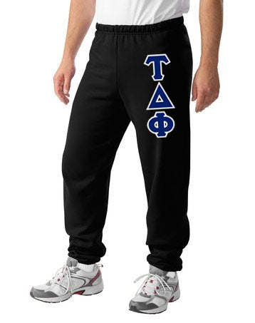 Tau Delta Phi Sweatpants with Sewn-On Letters