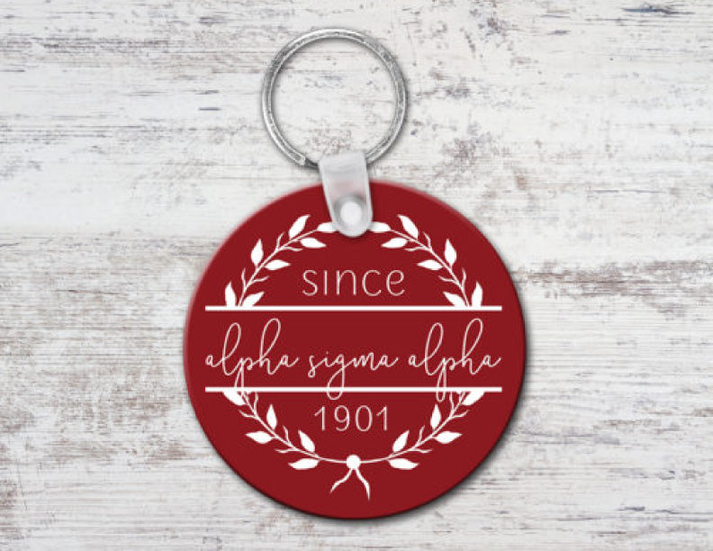 Alpha Sigma Alpha Since Established Keyring