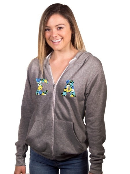 Sigma Alpha Unisex Full-Zip Hoodie with Sewn-On Letters