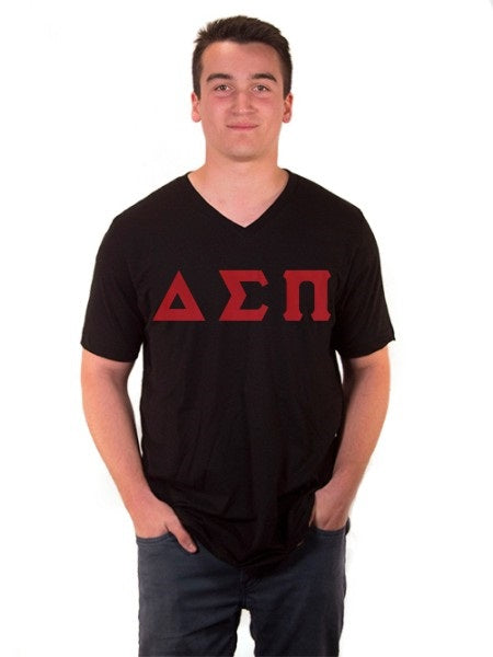 Delta Sigma Pi V-Neck T-Shirt with Sewn-On Letters