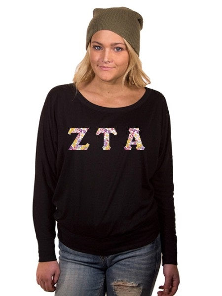 Zeta Tau Alpha Off the Shoulder Flowy Long Sleeve Shirt with Letters