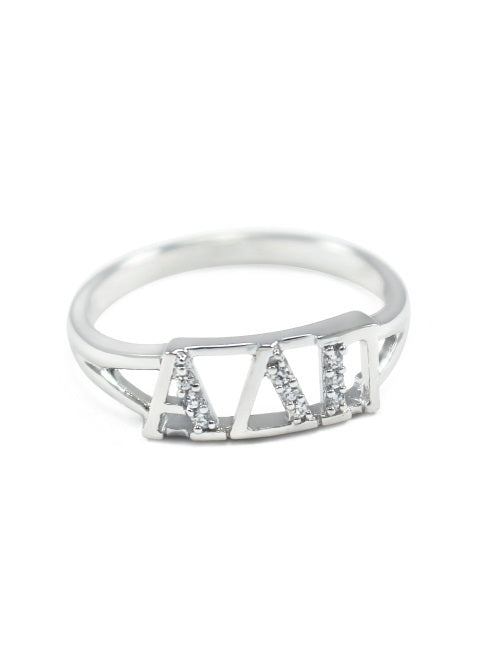 Alpha Delta Pi Sterling Silver Ring with Lab Created Clear Diamond