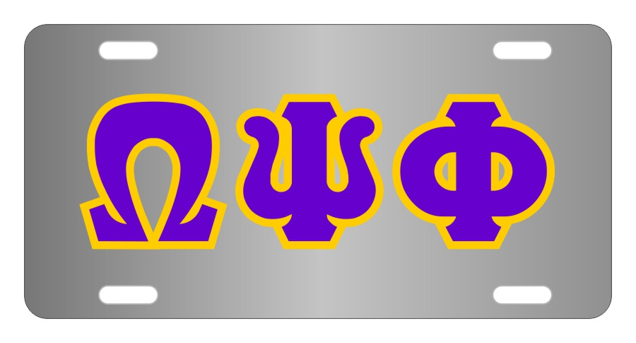 Omega Psi Phi Fraternity License Plate Cover