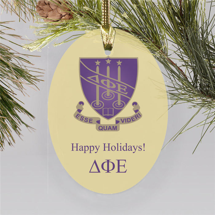 Delta Phi Epsilon Color Crest Ornament