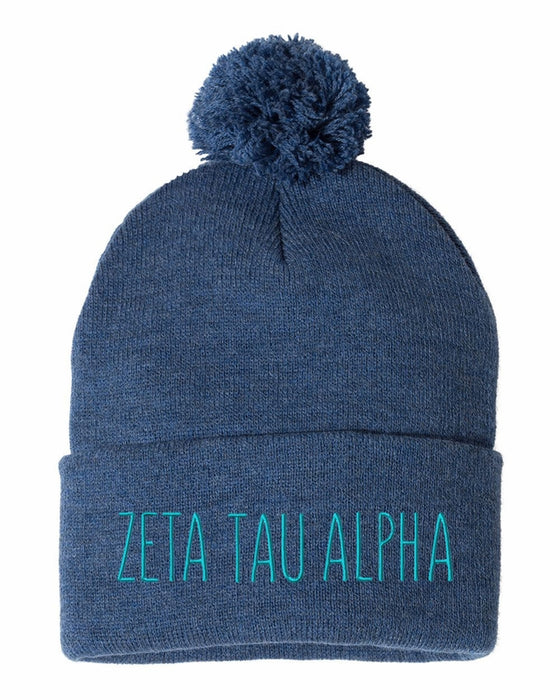 Zeta Tau Alpha Sorority Beanie With Pom Pom