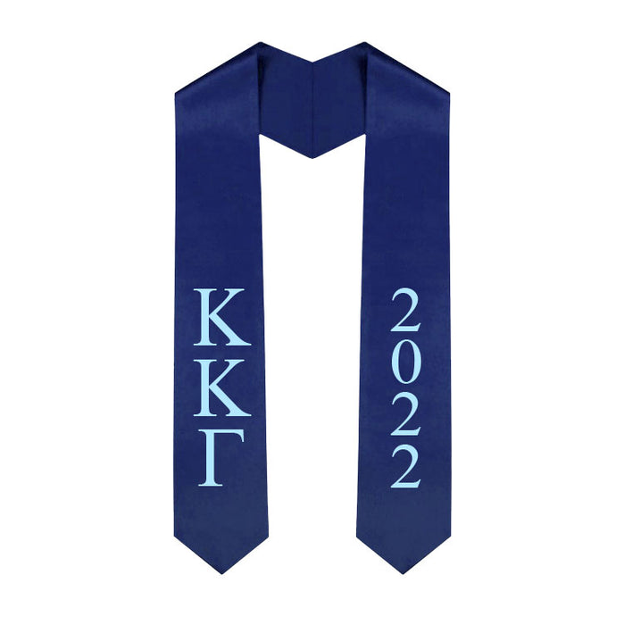 Kappa Kappa Gamma Vertical Grad Stole with Letters & Year