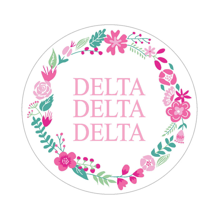Delta Delta Delta Floral Wreath Sticker