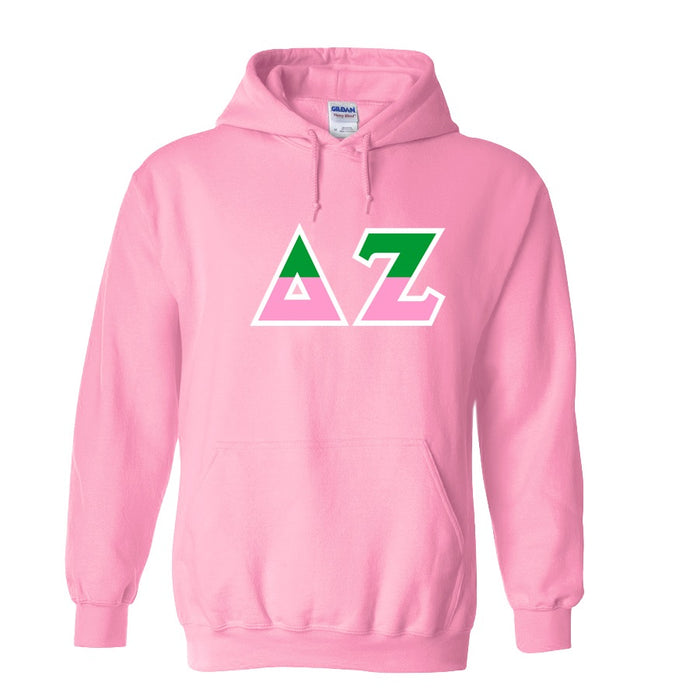 Delta Zeta Two Toned Lettered Hooded Sweatshirt
