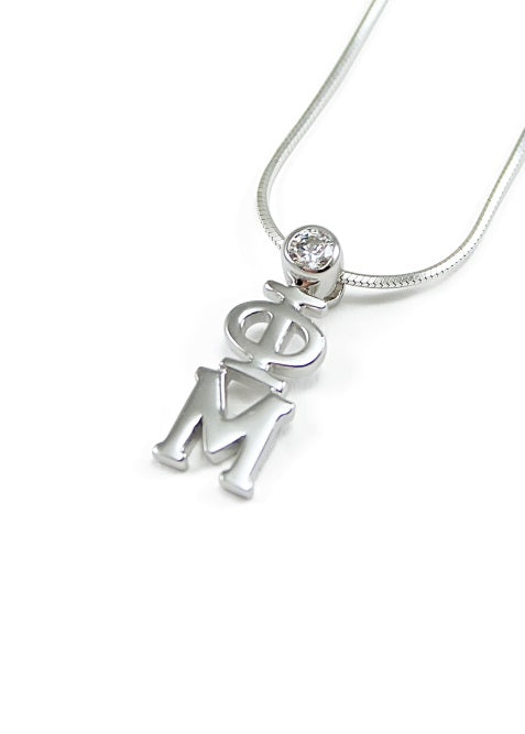 Phi Mu Sterling Silver Lavaliere Pendant with Clear Swarovski Crystal