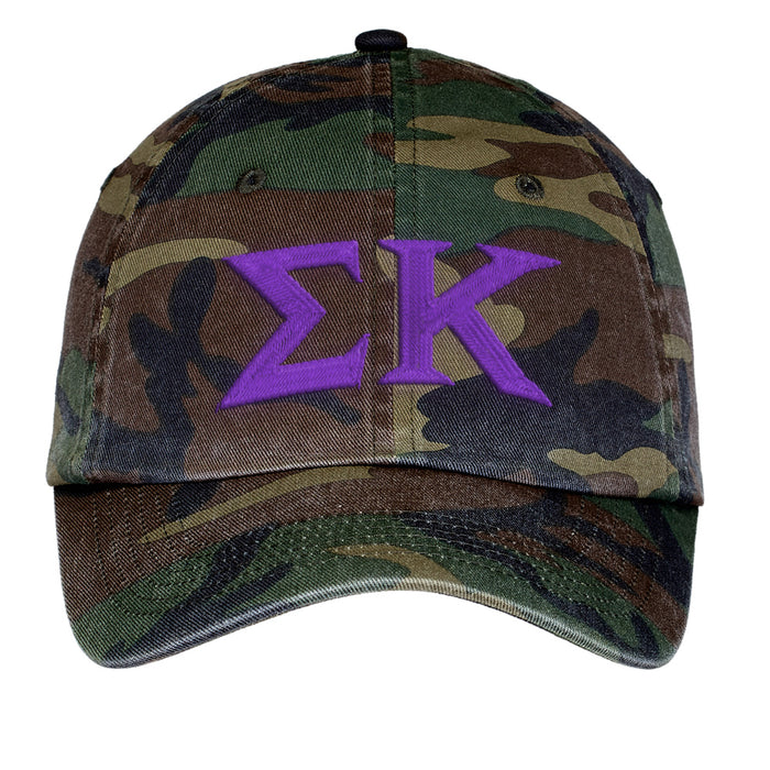 Sigma Kappa Letters Embroidered Camouflage Hat