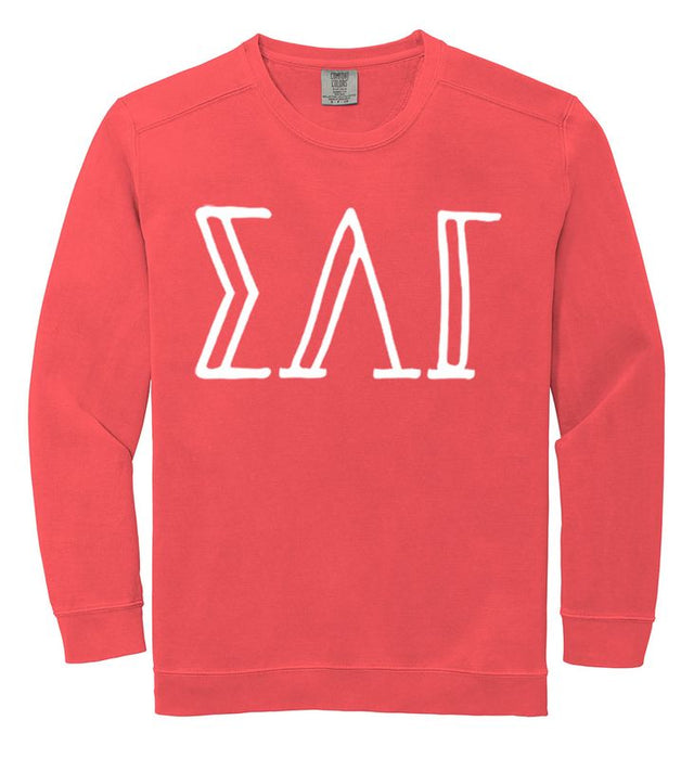 Sigma Lambda Gamma Comfort Colors Greek Letter Sorority Crewneck Sweatshirt