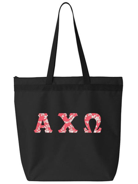 Alpha Chi Omega Large Zippered Tote Bag with Sewn-On Letters