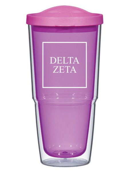 Delta Zeta Box Stacked 24oz Tumbler with Lid