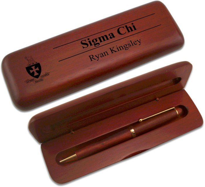 Sigma Chi Wooden Pen Case & Pen