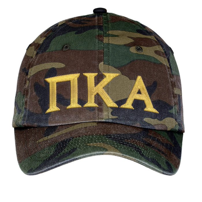 Pi Kappa Alpha Letters Embroidered Camouflage Hat