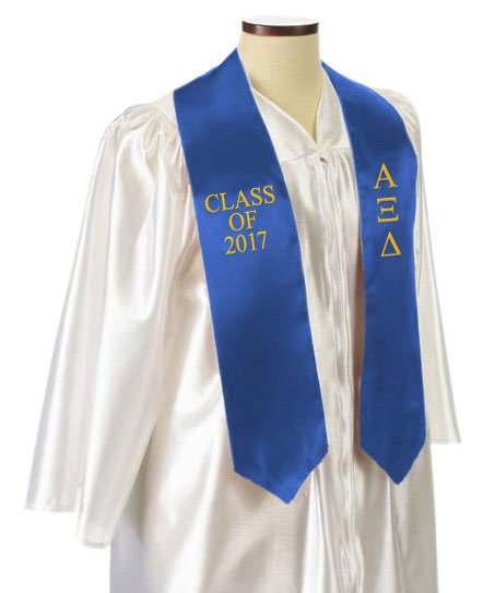 Alpha Xi Delta Classic Colors Embroidered Grad Stole