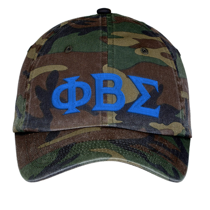 Phi Beta Sigma Letters Embroidered Camouflage Hat