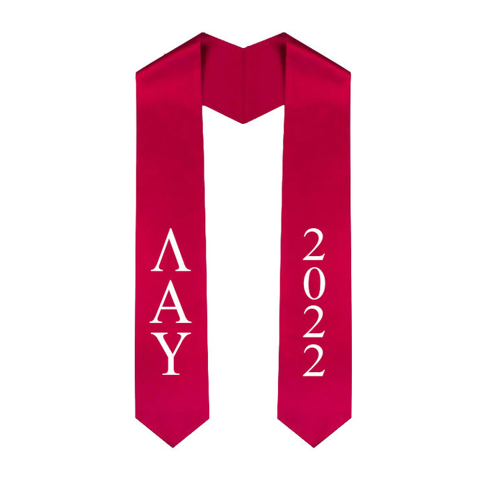 Lambda Alpha Upsilon Vertical Grad Stole with Letters & Year